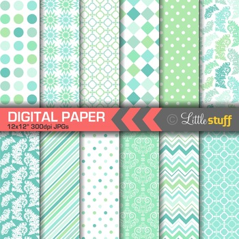 Mint Green Digital Paper Pack