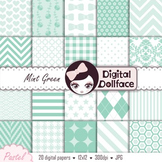 Mint Green Digital Paper / Pastel Background Patterns