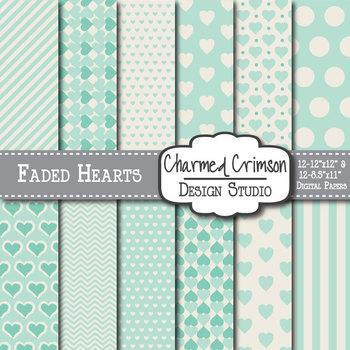 Mint Green Faded Heart Digital Paper 1304