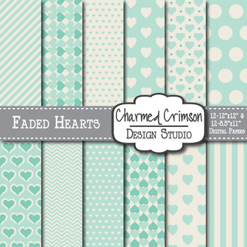 Mint Green Faded Heart Digital Paper 1304