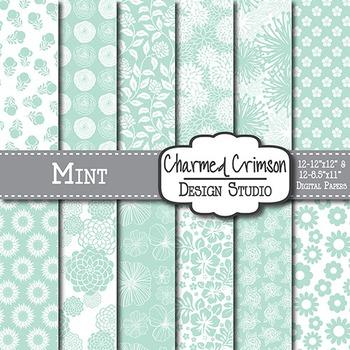 Mint Green Floral 1512