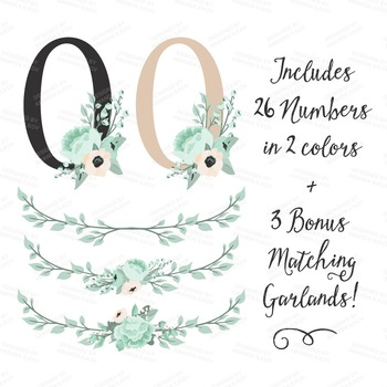 Mint Green Floral Number Vectors - Flower Clip Art, Peonies Clipart