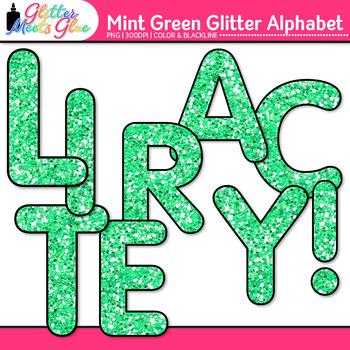 Mint Green Glitter Alphabet Clip Art {Great for Classroom Decor & Resources}