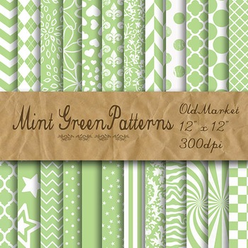 Mint Green Pattern Designs - Digital Paper Pack - 24 Different Papers - 12 x 12