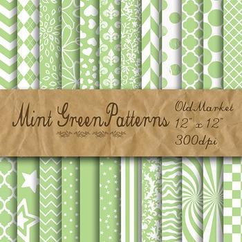 Mint Green Pattern Designs - Digital Paper Pack - 24 Diffe