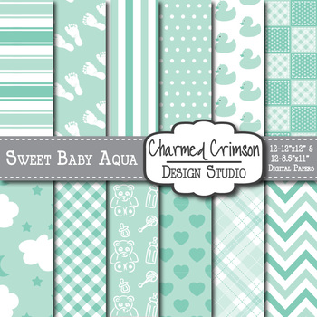 Mint Green and Aqua Baby Digital Paper 1102