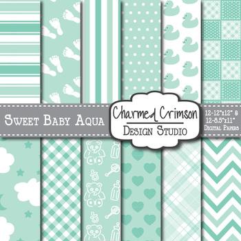 Mint Green and Aqua Baby Digital Paper 1102