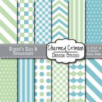 Mint Green and Blue Digital Paper 1164