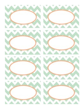 Mint Green and Coral Chevron Labels
