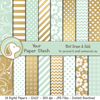 Mint Green and Gold Digital Papers with Floral and Flourish Patterns