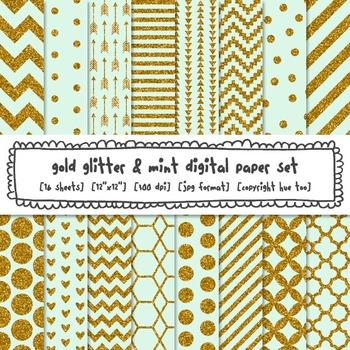 Mint Green and Gold Glitter Digital Paper, Gold Glitter Patterns Backgrounds
