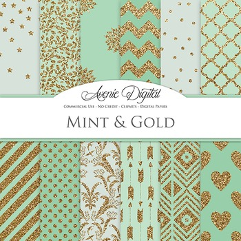 Mint Green and Gold Glitter Digital Paper - background