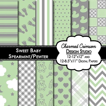 Mint Green and Gray Baby Digital Paper 1258