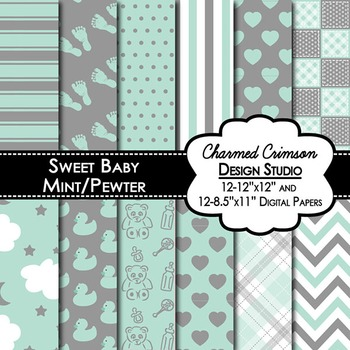 Mint Green and Gray Baby Digital Paper 1309