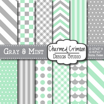 Mint Green and Gray Dots and Stripes Digital Paper 1103