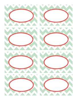Mint Green and Red Chevron Classroom Labels