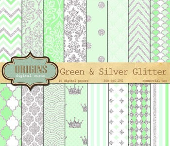 Mint Green and Silver Glitter Digital Scrapbook Paper Backgrounds