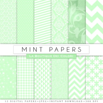 Mint Green and White Digital Paper, scrapbook backgrounds