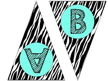 Mint Green and Zebra Word Wall Pennants