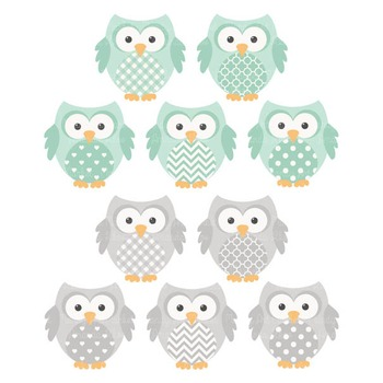 Mint & Grey Vector Owls & Papers - Baby Owl Clipart, Owl Clip Art, Baby Owls