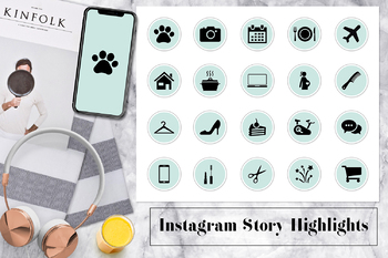 Mint Instagram Icons, Instagram Story Highlights Covers