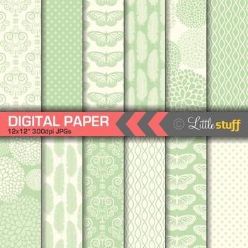 Elegant Mint Digital Papers