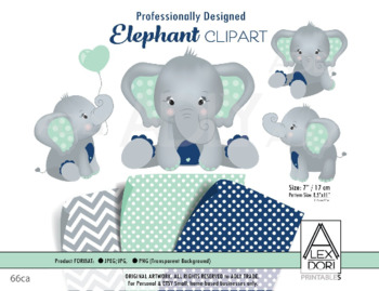 Mint Navy Blue Elephant Clipart,Baby peanut clip art, png file.Nursery