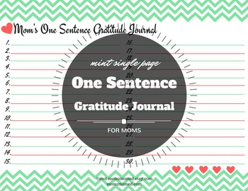 Mint- One sentence lined gratitude journal with hearts for moms