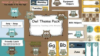 Mint Owls Theme Classroom Decor Pack