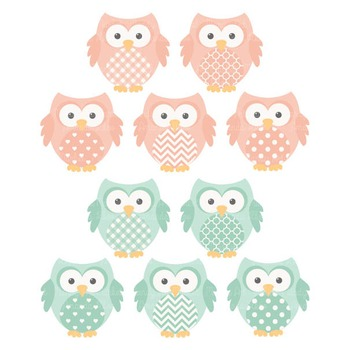 Mint & Peach Owl Vectors & Papers - Baby Owl Clipart, Owl Clip Art, Baby Owls