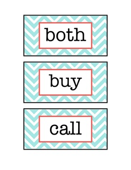 Mint & Pink Chevron Sight Words/Assessment for Second graders!