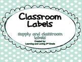 Mint Polka Dot Classroom Labels