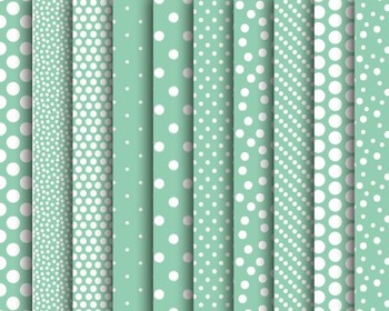 Mint Polka Dot Papers, Mint, Polka, Dot, Set #249