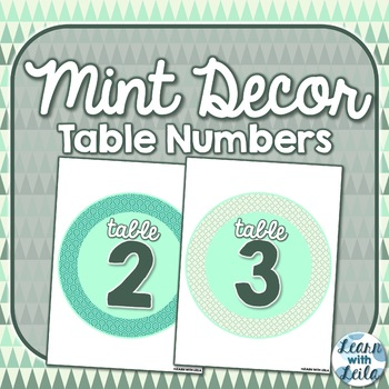 Mint Table Numbers
