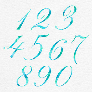 Mint Teal Watercolor Letters And Numbers