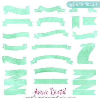 Mint Watercolor Ribbon Banners clip art - Green ribbons clipart painted labels