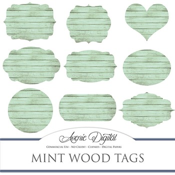 Mint Wood tags clip art Scrapbook printable wedding green frame labels clipart