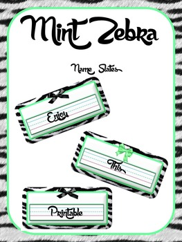 Mint Zebra Name Slates
