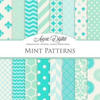 Mint and Aqua Digital Paper patterns - backgrounds