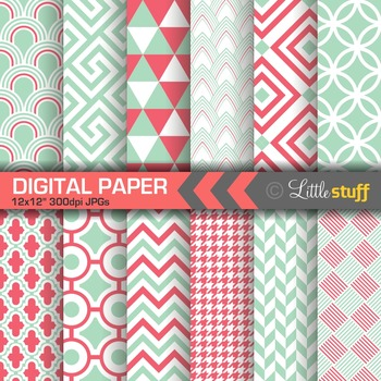 Mint and Coral Geometric Digital Paper Pack