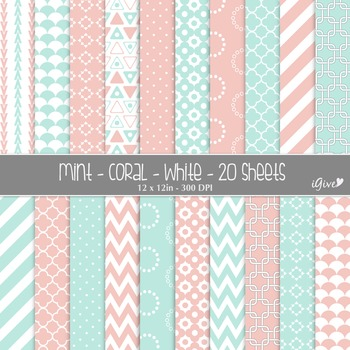 Mint and Coral Geometrical Digital Papers