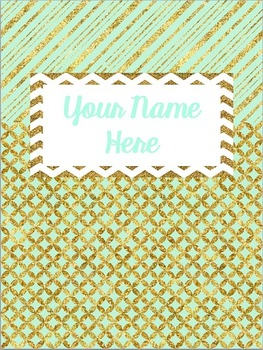 Mint and Glitter Gold Binder Cover