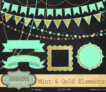 Mint and Gold Banner Party Clipart