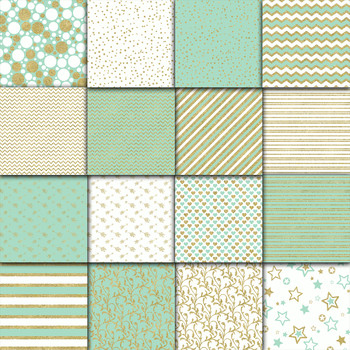 Mint and Gold Digital Paper Pack - Gold Glitter - 16 Papers - 12x12