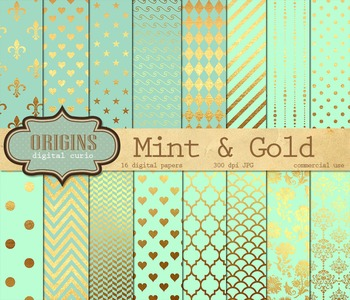 Mint and Gold Digital Paper, Scrapbook Paper Pack, Backgrounds