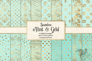Mint and Gold Digital Paper, seamless mint green and gold foil patterns