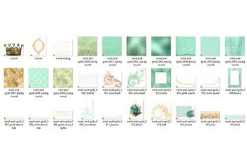 Mint and Gold Digital Scrapbooking Kit, clipart and digital paper