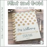Mint and Gold Editable Teacher Binder / Planner 2018-19