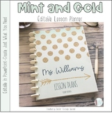 Mint and Gold Editable Teacher Binder / Planner