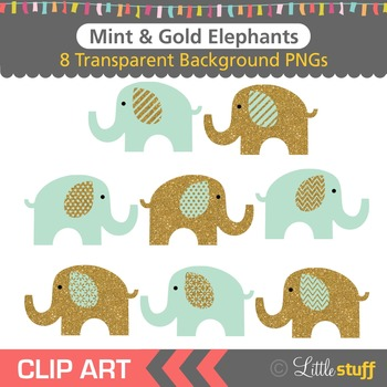 Mint and Gold Elephant Clipart, Green and Gold Elephant Clip Art